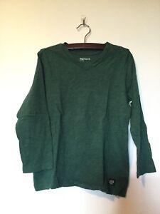 GAP-Kids-Boys-Forest-Green-V-Neck-100-Cotton-Long-Sleeve-T-Shirt-Size-XS-4-5