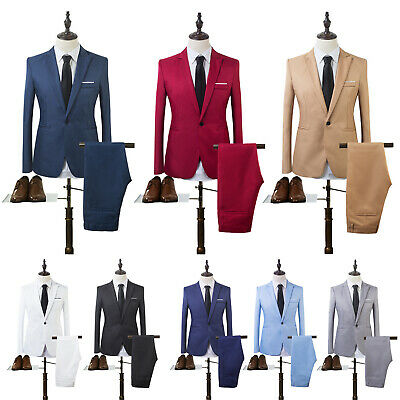 50a018d9dc Details about Men Tuxedos Jacket Pants Set Slim Fit Business Formal Groom  Wedding Blazer Suits