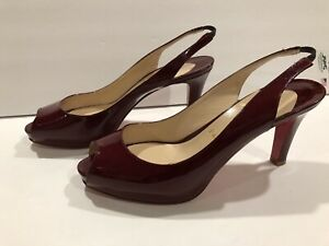 factory authentic 8f08a 73824 Details about Christian Louboutin Open Toe Patent Leather Pumps Slingbacks  Heels Burgundy 39.5