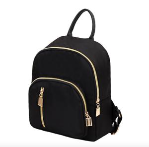 New-Fashion-Women-Small-Mini-Backpack-Travel-Nylon-Handbag-Shoulder-Bag-Black