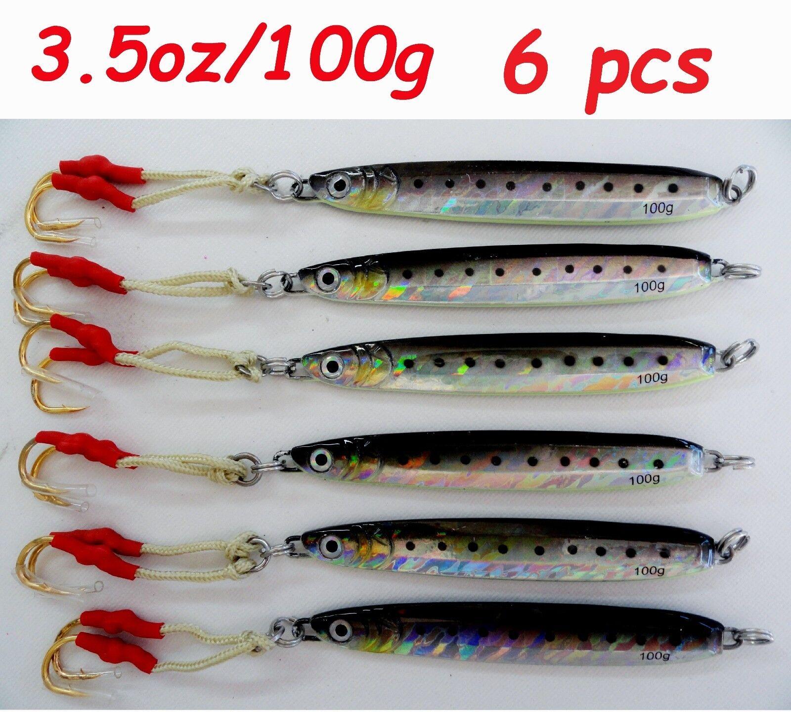 Knife jig 3.5oz 100g Sardine 6 Pieces Grünical Butterfly Saltwater fishing lures