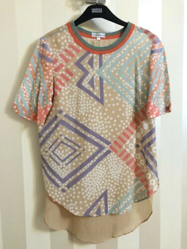 Size s Apply Front Silk Open Sides Dip 100 Hem Conditions Top Printed vqP76x6
