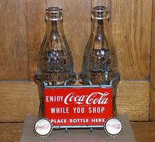1950's Coca-Cola COKE 2 bottle metal rack/carrier sign w/bonus FREE SHIPPING!