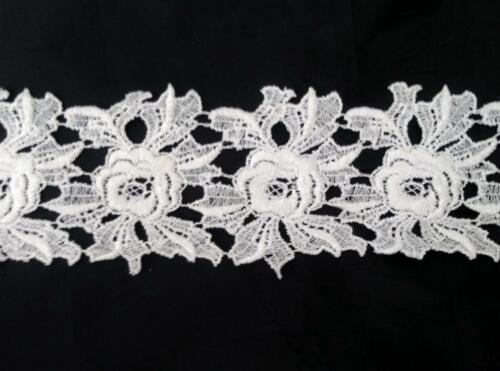 """1 Yard White Venice Venise Double Scalloped ROSE Floral Design 3/"""" SHIP FROM USA"""
