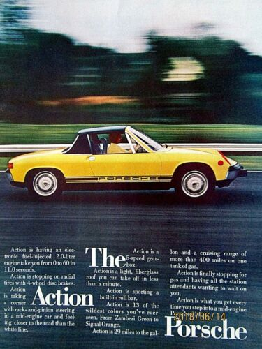 1974 Porsche 914 The ACTION Porsche-Original Print Ad 9 x 11/""