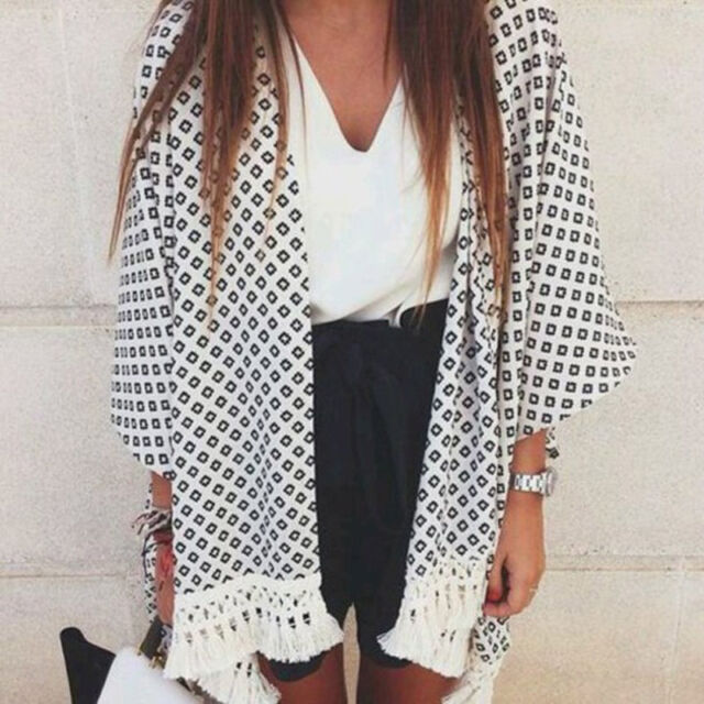 Fashion Women Floral Print Tassels Fringe Kimono Blouse Coat Cardigan Excellent