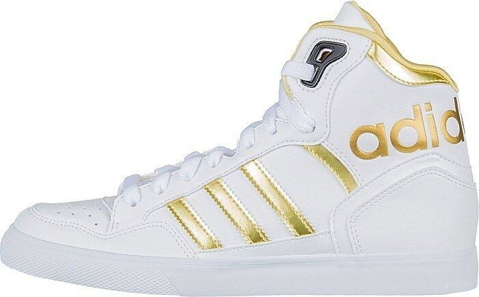 ADIDAS ORIGINALS EXTABALL WOMENS HIGH TOP TRAINERS WHITE AND gold UK SIZE 4.5