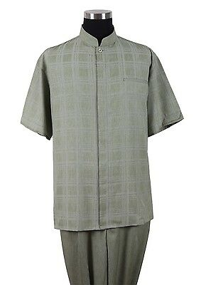 Men's 2pc Mandarin Collar Short Sleeve Walking Suit Plaids Shirt + Solid Pants