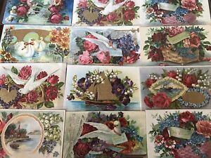 Lot-of-12-Fancy-Doves-Birds-Roses-Flowers-Vintage-Greeting-Postcards-a630