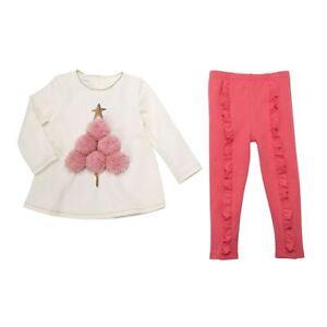 6857c1e03b7 New Mud Pie Christmas Holiday Pink Pom-Pom Tree Tunic & Legging Set ...