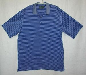 Nicklaus-Golf-Mens-Polo-Shirt-Size-XL-Chest-46-48-034-Blue-amp-White-Striped