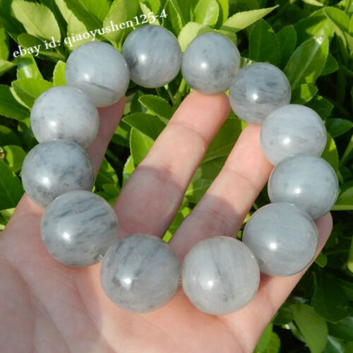 Chinese Blue White Lighter Imperial Jade Hand Grinding Pretty Hand Chain 金丝玉青花手链