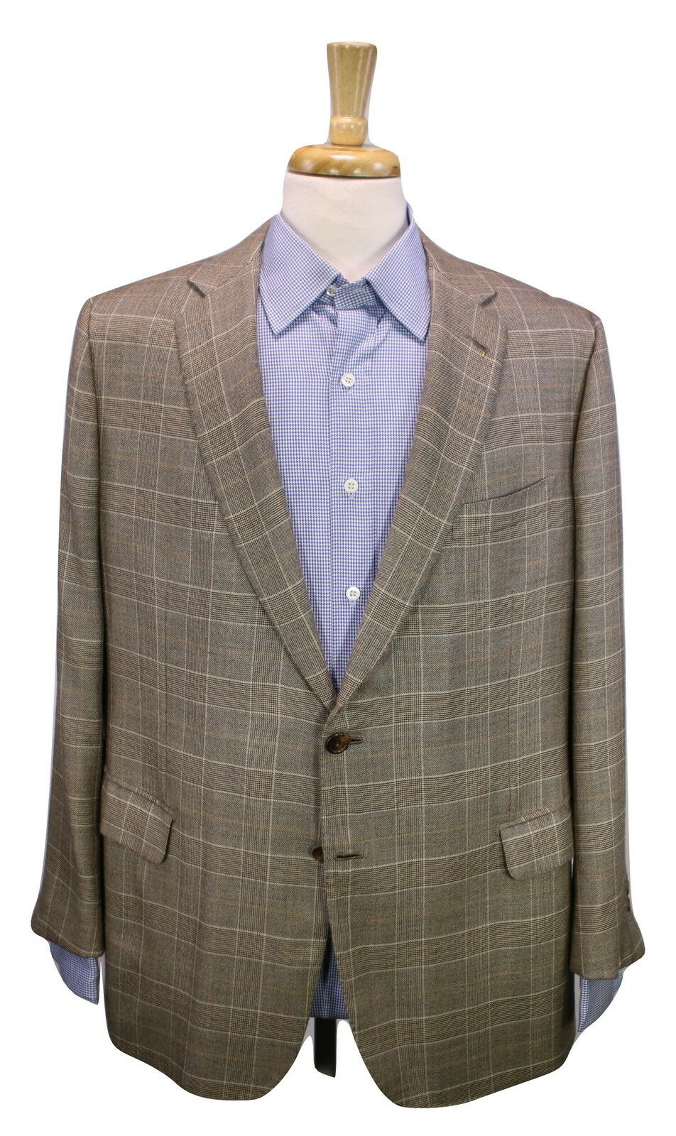 BRIONI  Recent Brown gold Plaid 100% Cashmere 2-Btn Sportcoat Blazer 42S