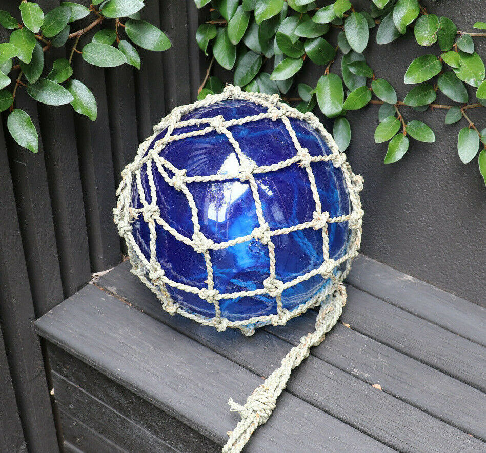 Fishing float light, Blau, 25cm diam, (10 ), hanging, nautical, coastal decor