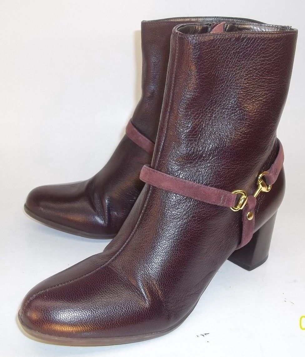 Talbots Wos Boots US 6 B Burgundy Leather Zip-Up Heels Dress Ankle Booties 6258