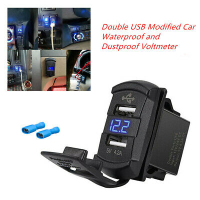 Double USB Modified Car SUV Waterproof and Dustproof 4.2A Voltmeter Universal