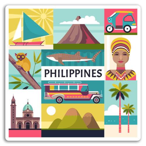 Manila Cool Travel Sticker Luggage #17617 2 x 10cm Philippines Vinyl Stickers