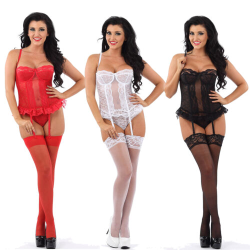 Lace Corset Basque Suspenders /& Thong Underwired Hook and Eye Strapless Bridal