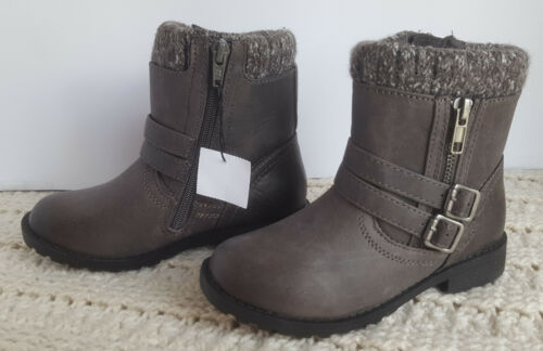 Little Girls Casual Boots Brown Buckles Faux Wool Shiloh American Eagle Size Ch