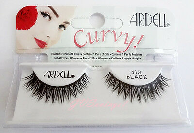 Ardell CURVY LASHES #413 False Fake Eyelashes Black Strip Natural
