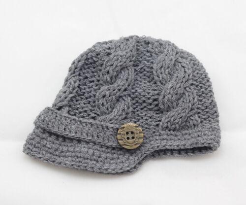 Handmade Knitting Beanie Hat Newsboy Toddler boy baby 6-12 months gray