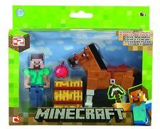 "Minecraft Overworld Steve with Chestnut Horse 3"" Articulated Action Figure BNIP"