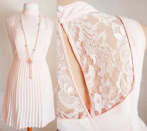 NEW-Light-Pink-Lace-Sweetheart-Mock-Neck-Knife-Pleated-Skirt-CUTE-Romantic-Dress