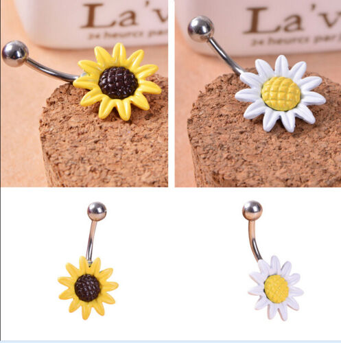 Sunflower Flower Belly Button Ring Navel Piercing Body Jewelry Surgical Steel