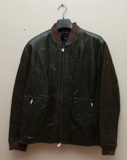 Vm Vince Leather Suede Men Bomber Jacket With Quilted Sleeve Size M