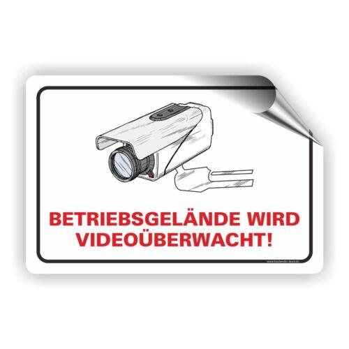Videoüberwachung Aufkleber Alarmgesichert Betriebsgelände wird Überwacht VÜ-002