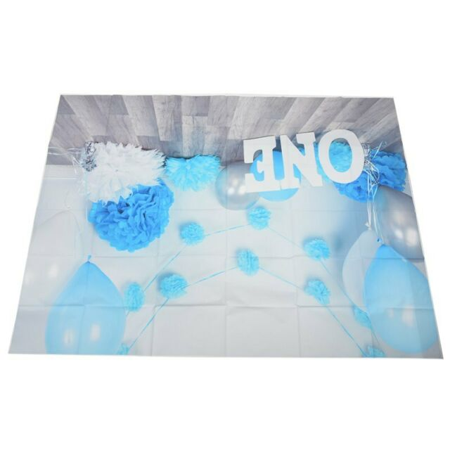 7x5ft Photography Backdrops baby boys 1st Birtay Blue balloons flowers partyJ9Y1