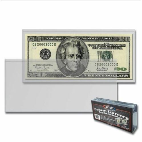 50 BCW Banknotes Sleeves For Large US Size Bill Currency Notes Deluxe Holders