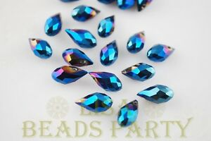 New-20pcs-12x6mm-Teardrop-Faceted-Glass-Pendant-Loose-Spacer-Beads-Blue-Plated