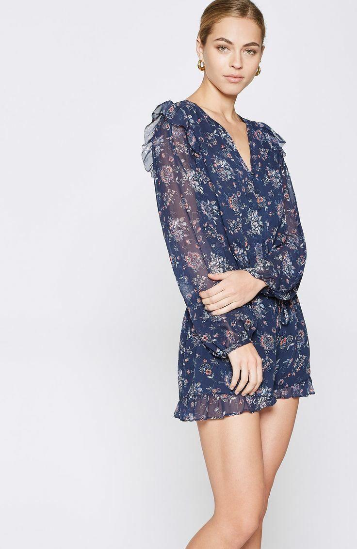 JOIE Cherita Women's Romper XXS Navy bluee Floral Silk Ruffle Shorts