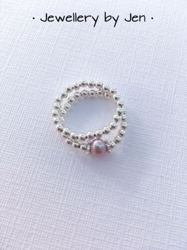 Stacking Ring Set Sterling Silver And Pale Pink Freshwater Pearl Handmade