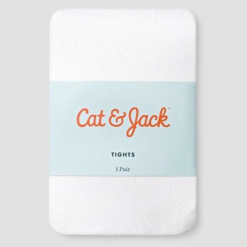 Cat /& Jack Baby Girls/' Solid White Tights Cotton//Nylon Blend 0-6M