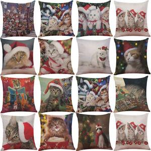 "18"" Christmas Cat Cotton Linen Pillow Case Throw Cushion Cover Home Décor"