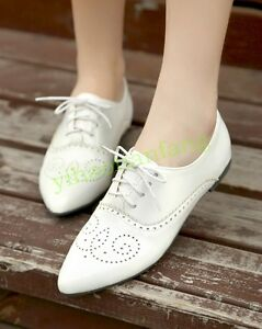 Wing Tip Womens Brogue Lace Up British Shoes Oxfords Pointy toe Cuban Heel Vogue