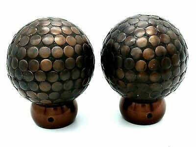 the book shop 1 x Pair Studded finials for 28mm curtain pole bronze ball beaded finial