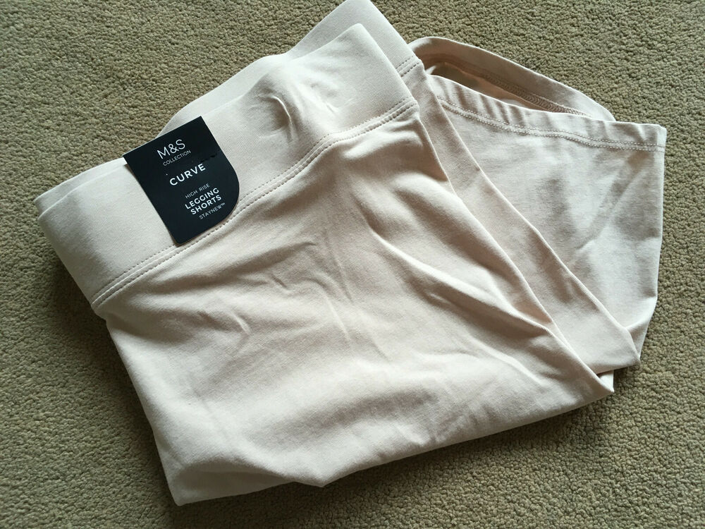 Bnwt Colletion Courbe Nude Beige Amande Taille Haute Legging Cyclisme Short Rub