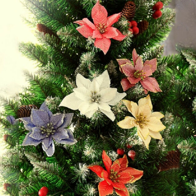 10 Pcs Glitter Poinsettia Flower Christmas Wreath Tree Decorations Xmas Gift