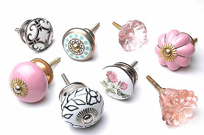 Mixed Set 8 Shabby Chic Style Ceramic Knobs Cupboard Cabinet Handles Drawer Pull