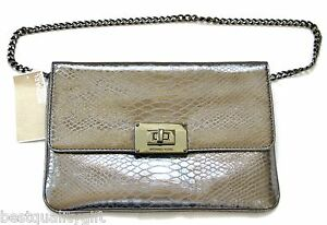 8583fa5abc Image is loading NEW-MICHAEL-KORS-SLOAN-METALLIC-GUNMETAL-PYTHON-LEATHER-