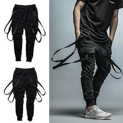 Mens Suspender Pocket Harem Pants Hip Hop Street Cargo Trousers Sweatpants New