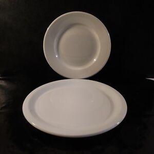 2 assiettes porcelaine blanche SARREGUEMINES GALERIES LAFAYETTE XXe France N3324