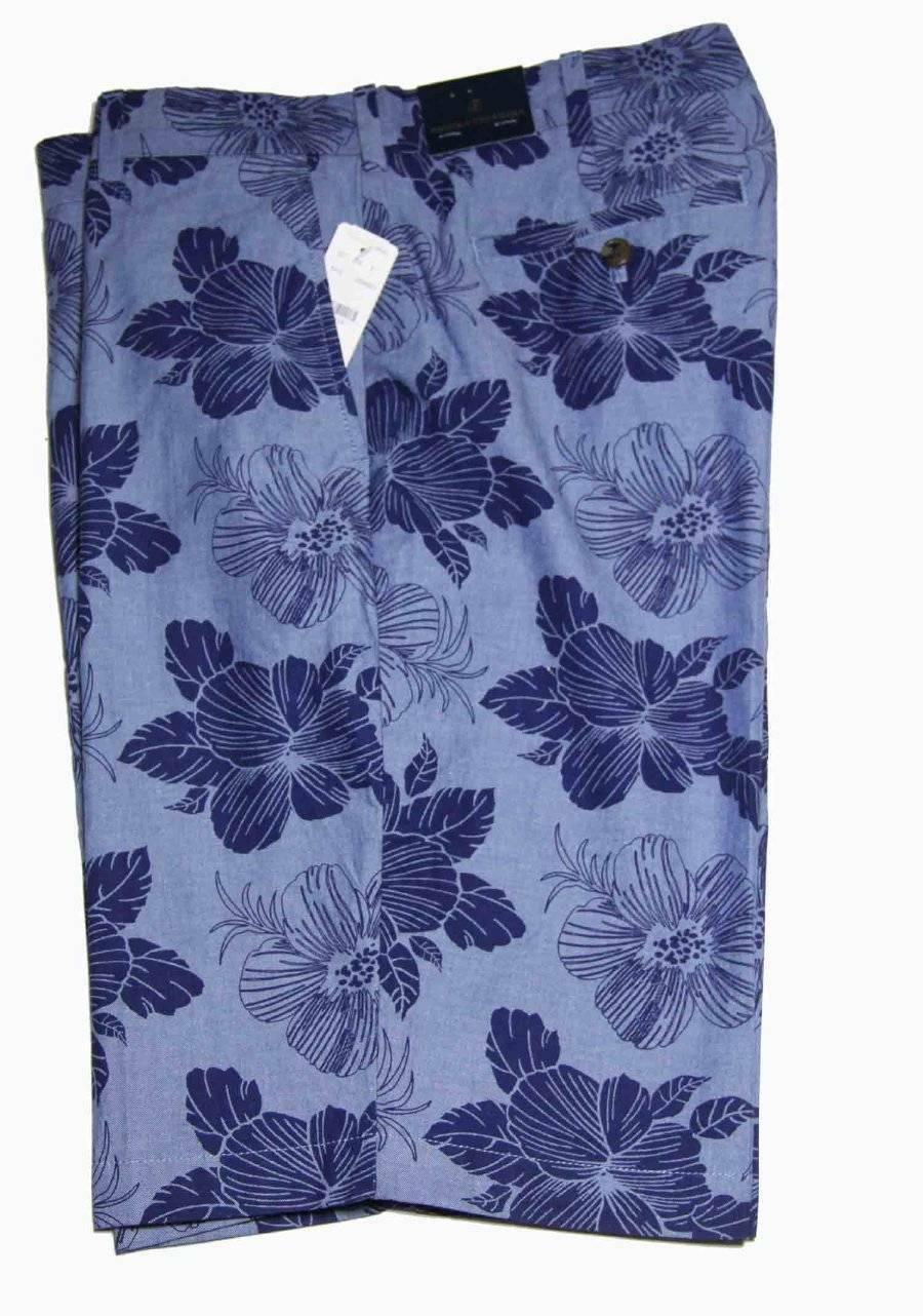 c5a213a01e Mens Bredhers Cotton Shorts bluee Flat Front Size 36 Floral Brooks  nthvsn2625-Shorts