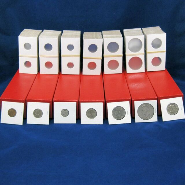 500 Assorted 2x2 Flip BCW Coin Holder Mylar Cardboard 5 Red Storage Box Case