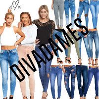 DIVADAMES Womens Ripped Knee Skinny Jeans Faded Slim Fit Ladies Denim Size 6-16