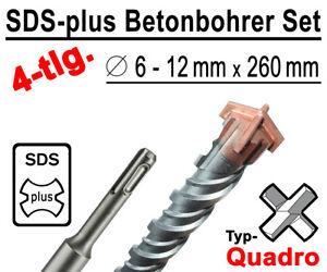 SDS-plus-Betonbohrer-Set-4-tlg-Quadro-Bohrer-Hammerbohrer-6mm-12mm-x-260mm