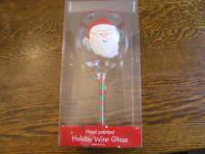 DEI Merry & Bright Holiday SANTA HO~HO~HO Hand~Painted 16 Oz Wine Glass~~NIB!!